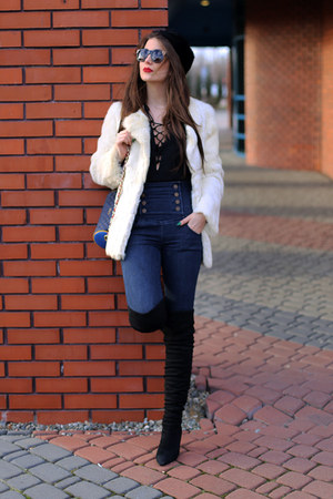 black sammydress boots - navy Zara pants - black DealSale blouse