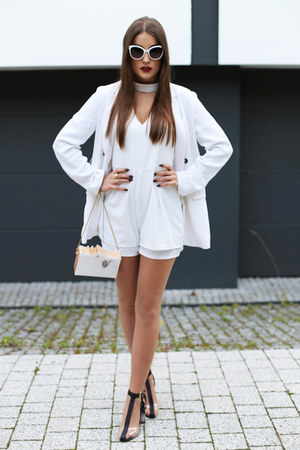 white GAMISS bag - black zaful heels - white zaful jumper