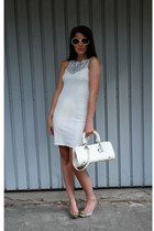 white Zara dress - ivory quilted christian dior bag