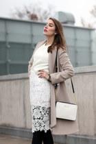 white Michael Kors bag - neutral Stefanel coat - white DressLink skirt