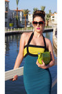 Teal-bandage-dress-asos-dress-chartreuse-clutch-coccinelle-bag