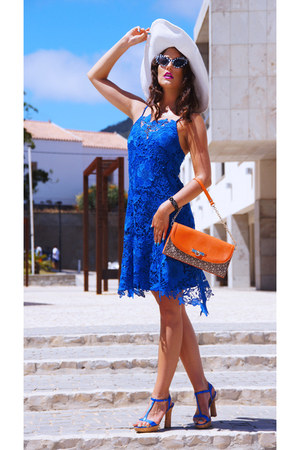 blue laced Zara dress - white unknown hat - carrot orange clutch DKNY bag