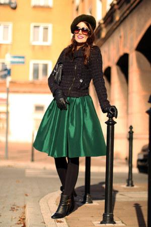 black Chloe boots - black Promod blazer - dark green midi Choies skirt