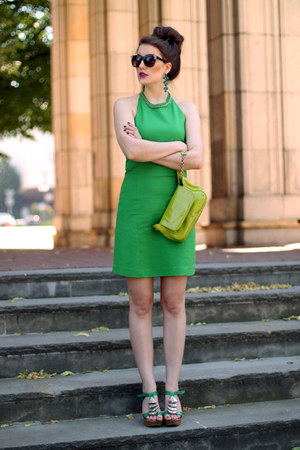 green Zara dress - chartreuse Coccinelle bag - green Foreva heels