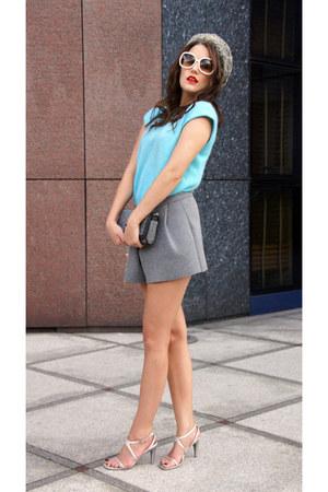 heather gray no name hat - sky blue SH sweater - heather gray Zara shorts