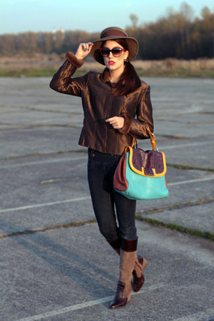 dark brown escada coat - dark brown vintage hat - turquoise blue Fendi bag