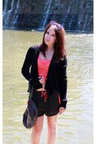 black silk Armani Exchange cardigan - dark brown with studs DKNY bag