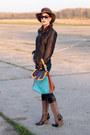 Dark-brown-escada-coat-dark-brown-vintage-hat-turquoise-blue-fendi-bag