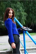 blue with zippers Zara jacket - black clutch vintage bag