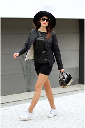 black Sisley hat - black asos blazer - ivory air nike sneakers