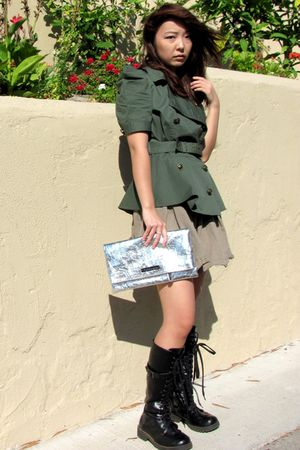 green Forever 21 jacket - brown Forever 21 skirt - black Hot Topic boots - silve