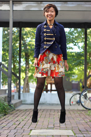 navy jacket - red dress - black sheer dotted tights