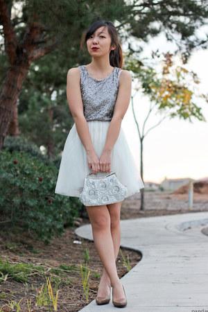 silver sequin tulle H&M dress - tan Aldo pumps