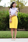 White-pumps-yellow-pencil-thrifted-escada-skirt-light-purple-chicwish-top