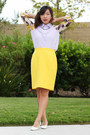 Light-purple-chicwish-top-yellow-pencil-thrifted-escada-skirt-white-pumps