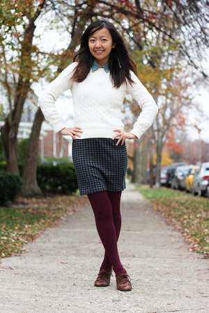 gray Forever 21 skirt - ivory cable knit Ralph Lauren sweater