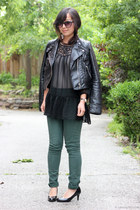black leather biker jacket - black cat eye H&M sunglasses - dark green pants