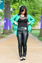 black leather pants - black dress - teal top