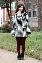 maroon tights - black fringe boots - white coat - beige scarf