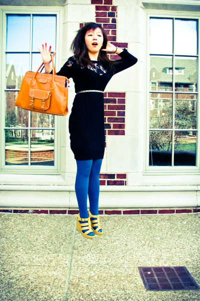 black lace H&M dress - teal Taiwanese brand tights - camel leather satchel thrif