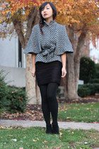 charcoal gray tweed cape BB Dakota cape - black H&M skirt