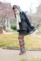 ruby red fair isle tights - navy Forever 21 sweater - dark green Old Navy shirt