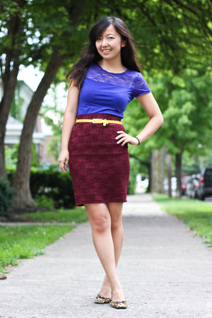 brick red Forever 21 skirt - blue lace detail H&M top