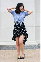black polka dot hi lo skirt - blue chambray shirt - black flats