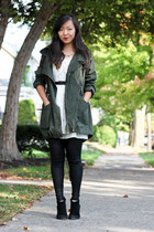 white lace Forever 21 dress - army green parka anorak asos jacket