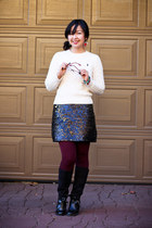 black skirt - ivory cable knit sweater - maroon burgundy tights