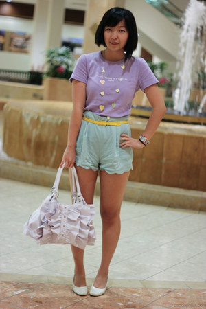 aquamarine scallop hem Lush shorts - white bag - yellow belt