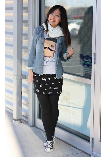 Black Bird Print H&m Skirt