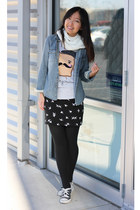 black bird print H&M skirt - blue chambray denim H&M shirt