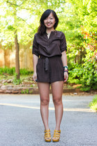 dark brown romper - yellow wedges