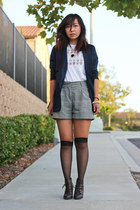heather gray shorts - navy blazer