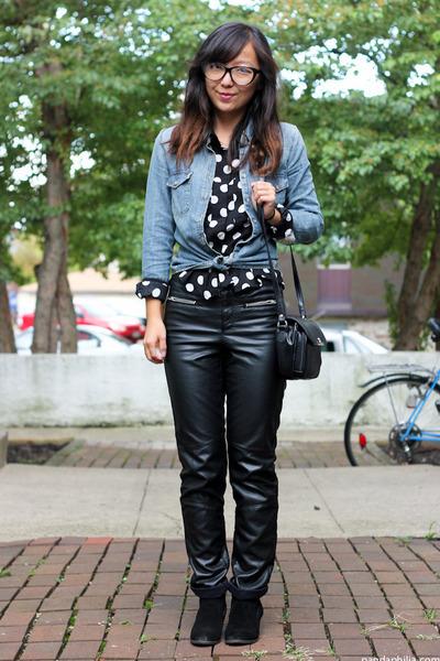blue chambray denim H&M shirt - black polka dot H&M shirt