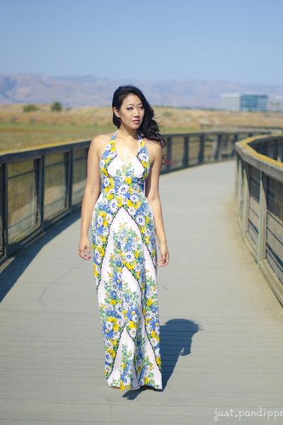 white maxi Anthropologie dress