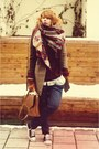 Brown-asos-coat-h-m-scarf-navy-zara-pants-crimson-h-m-cardigan