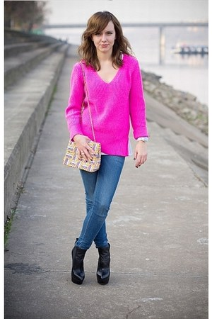 Zara sweater - Mango jeans - vintage bag - asos heels