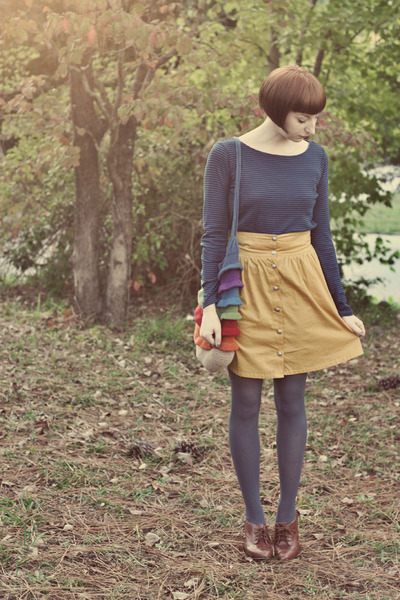 knit by me bag - Target tights - Top top - seychelles heels - modcloth skirt