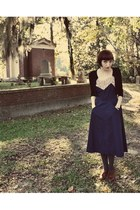 thrfited vintage dress - Target tights - Forever 21 cardigan - seychelles heels