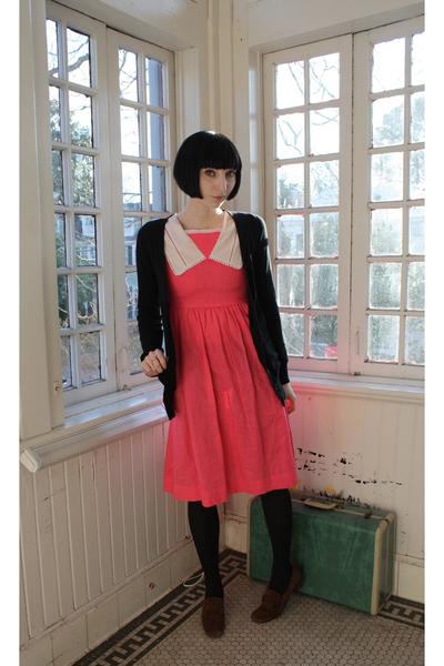 black Forever 21 cardigan - pink vintage dress - Target tights - brown vintage s