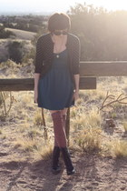 thrifted cardigan - Urban Outfitters boots - Urban Outfitters dress