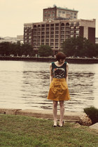 modcloth skirt - H&M flats - Etsy top