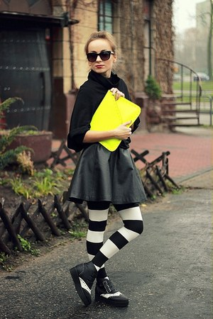 yellow Bershka bag - black H&M skirt