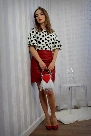 red Zara skirt - silver sammydress bag - white reserved blouse