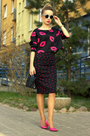 hot pink Primark shoes - hot pink H&M blouse