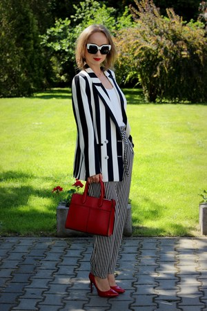 white H&M jacket - red Zara bag - black Stradivarius pants