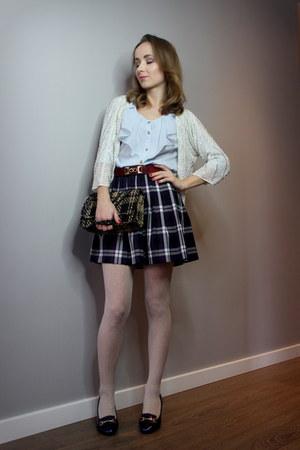 navy second hand skirt - navy deezee boots - sky blue second hand shirt