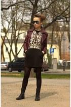 black Zara dress - crimson H&M jacket